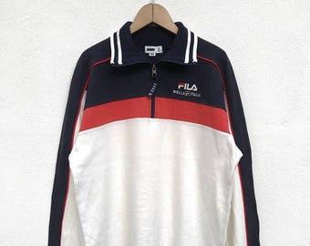 "20% OFF Vintage Fila Pullover / Fila Big Logo / Fila Italia / Fila Sweater / Fila Sport / Fila Tennis Shirt / Armpit 21.5"" / Fila color bloc"