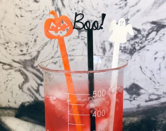Halloween Boo Set, Party Favors, Drink Stirrers, October, Halloween Party, Halloween Decorations, Swizzle Sticks,Laser Cut,6 Pk