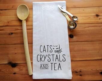 Cats Crystals Tea Flour Sack Towel   Tea Towel   Kitchen Towel   Crystal Lover Gift   Cat Lover   Cat Gifts   Tea Lover Gift   Tea Gift
