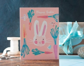 Easter Bunny Card, rabbit greeting card, spring, gardener, for animal lovers, for children, boys, girls, butterflies, robin, Inkpaintpaper