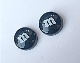 Black M&M Stud Earrings