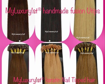 Pre Bonded U Nail Tip Fusion u-tip Remy Human Hair Chestnut Brown, Golden Brown, Medium Brown, Chocolate Brown, Dark Brown, and Ash Blonde