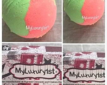 Moisturizing Watermelon scented bath bomb fizzy Aromatherapy fizzie 2 ounce bath tub Relaxing soak home spa