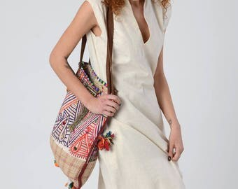 Tribal Tote Bag, Ethnic bag with Leather Straps, Gypsy Vintage Tote, Indian Embroidery Hand Made Bag, Boho Chic, Oversize Shoulder Bag