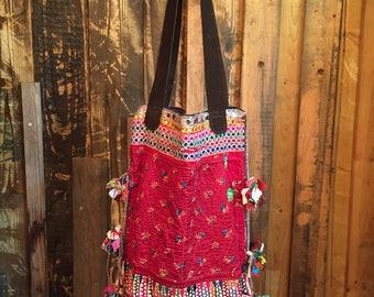 Ethnic Bag, Tote Bag, Tribal Bag, Tote bag with Leather Straps, Big Bags, Vintage Bag, Embroidery Shoulder Bag, Bohemian Bag, Boho Chic Tote