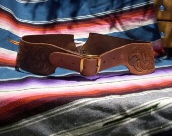 Vintage Tooled Leather Wide Waist Belt