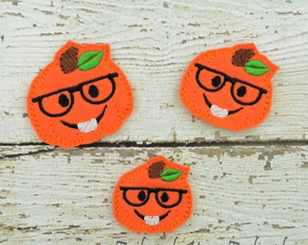 Nerdy Pumpkin Feltie Set of 4 - Hair Bow Supplies - Clippie Cover - Badge Reel Cover - Craft Supply - Scrapbook - Card Making - Planner Clip