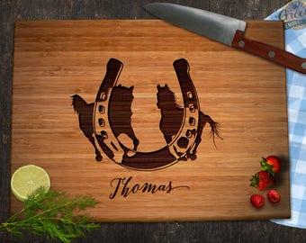 Custom Horse Lovers Engraved Bamboo Cutting Board, Equestrian Gift for Birthday Family Wedding Bridal Shower, Equain Horseshoe Kitchen Decor