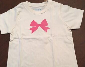 Pretty Bow Organic Cotton Toddler Tee Clothes Custom Screen Printed Tee Organic Tshirt