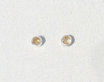 CHIP CITRINE Silver 925 earrings Silver 925 natural chips stone Citrine yellow minimalist silver jewelry made in France