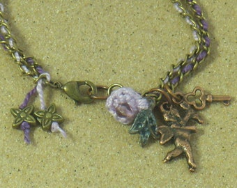 Two-tone bracelet chain with two bronzes and Parma violet