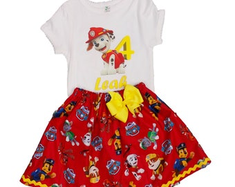 Girl birthday outfit  girl Marshall outfit  baby toddler Paw Patrol name outfit  Name age girt outfit Paw patrol  dress Marshall girl outfit