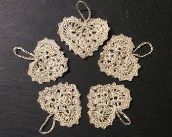 Golden crochet hearts~lace hearts~golden heart embellishment~wedding heart decor~golden wedding~golden heart hanger-set of 5