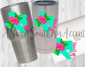Texas Strong floral decal For Yeti, Lily Planner, rambler, car, school, macbook, laptop, cooler