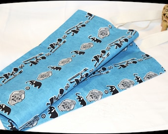 Superbe sac cabas en coton noir et turquoise thème Afrique