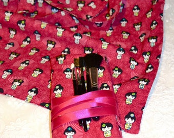 Lovely 100% cotton-theme Japanese dolls - crushed raspberry fabric tote bag