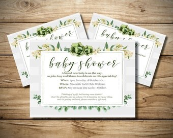 Neutral Baby Shower Invitation Green Leaf Succulent Flowers