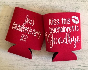 Bachelorette Can Coolers//Bachelorette Party//Kiss This Bachelorette Goodbye//Fun Can Cooler//Wedding Party Can Cooler