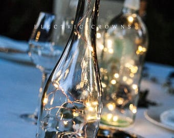 Wine Bottle Centerpieces for Weddings, Wine Bottle Decor, Wine Theme, Fairy Lights, Wedding Centerpiece, Battery Operated Wine Bottle Lights