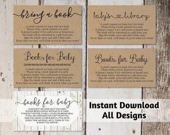 Printable Baby Shower Book Request - Bring a Book Instead of a Card - Rustic Wood Instant Download - Avery Business Card Template 8871