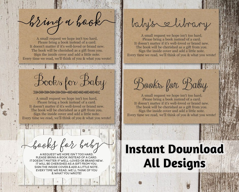 Printable Baby Shower Book Request - Bring a Book Instead of a ...