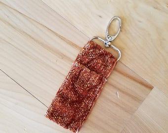 Burnt Orange Glitter Keychain Chapstick Holder