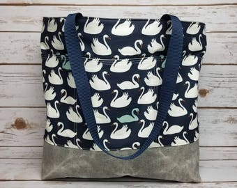 Birch Organic Swan fabric and waxed denim over sized tote bag