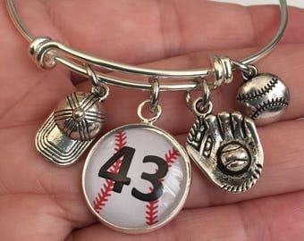 baseball bracelet-baseball mom bracelet-MLB bracelet-personalized  baseball bracelet