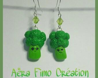 """Kawaii broccoli vegetable"" polymer clay earring"