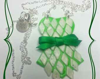 "Fimo necklace ""Corset green and white geometric and satin bow"""