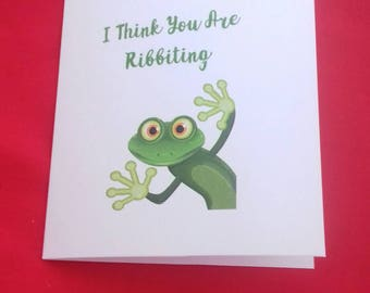 Ribbiting Frog  Anniversary Card, Froggy Card, Frog Lovers, Wildlife Cards,  Play On Words Cards, Birthday Card For Husband, Wife Cards