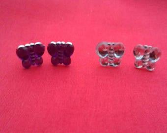 Butterfly Stud Earrings, Purple Gem Stud, Silver Gem Stud, Butterfly Jewelry, Nature Inspired Jewellery, Small Fashion Studs