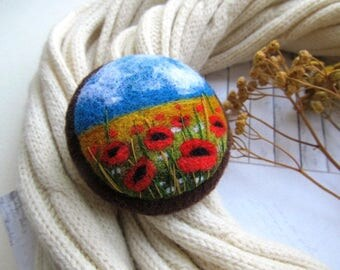 Women gift natural jewelry Gift handmade sister jewelry Needle felted woolen art Jewelry novelty mom gift Colored pin  style rustic