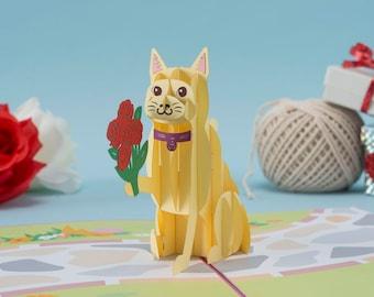 Love Cat Pop up Card, Cat Pop up Card, Valentine's Day Cat Card, Cat Love Pop up Card, 3D VDay Cat Pop up Card, Kitten Love Pop up Card