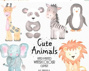 SALE Watercolor Animals Clipart, Commercial Use, Watercolor Clipart, Cute Animals Clipart, Watercolor Animals Clip Art, Hand-Painted Clipart