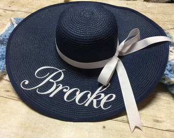Set of 3 Monogrammed Floppy Beach Hat, Bride hat