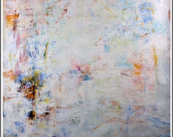 """Signed Lena Gustav 49"""" x 49"""" Beautiful Modern Abstract Painting Original Oil On Canvas H3"""
