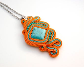 Unique soutache pendant necklace, Summer statement necklace, Orange and turquoise gemstone necklace, Jewelry set, Holiday gift for her.