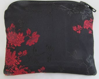 Small Black and Red Brocade and Satin Coinpurse Coin Purse Pendulum Crystals Zipper Bag Pouch Fancy