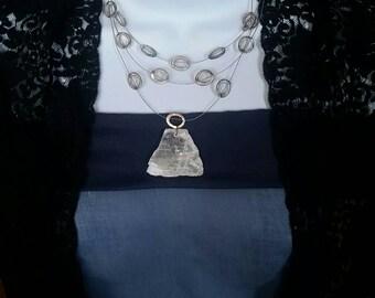 White Selenite Stone // Bohemian Gypsy Necklace // Metaphysical Healing // Tribal Pendant // Meditation Crystal Gemstone // Gift for Her
