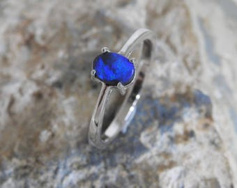 Australian Natural Solid Black Opal Sterling Silver Ring.