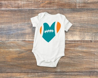Football Heart NFL Team Colors Baby Bodysuit or Toddler Shirt- Choose Your Team