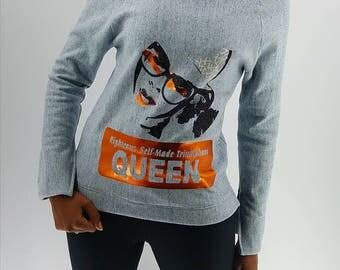 QUEEN edition off the shoulder sweatshirt Grey
