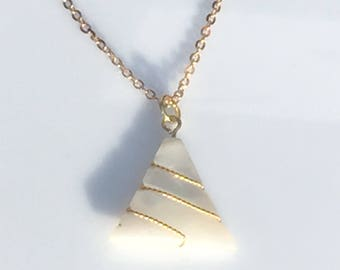 Mother of Pearl and Gold Triangle Gemstone Necklace.