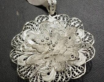 Filigree Sterling Silver Pendant, Sterling Flower Pendant, Filigree Flower Pendant