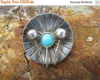 BUYBYE20OFF Taxco, Mexico Sterling Silver and Turquoise Lily Pad Brooch and Pendant