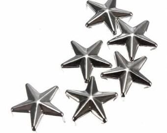 10 PCs setting 10 mm silver color stars