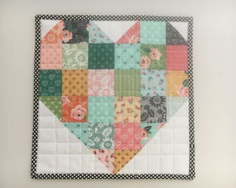 Sugar Pie Sweetheart Patchwork Mini Quilt, Wall Hanging