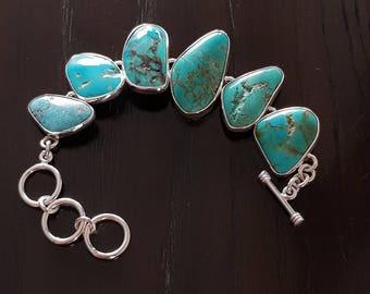 Georgeous Turquoises set in .925 Sterling Silver bezel chain link Bracelet Handmade.