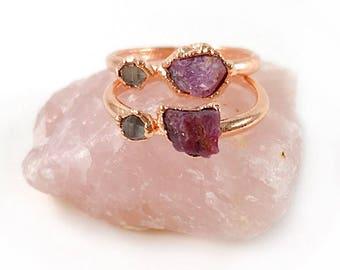 Ruby Ring, Herkimer Diamond Ring, Raw Stone, July Birthstone, Raw Crystal, Electroformed Ring, Rose Gold, Red Gemstone, Healing, Copper Ring